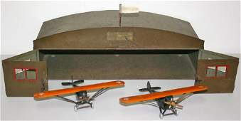 Buddy L toy airplane Hanger and two airplanes