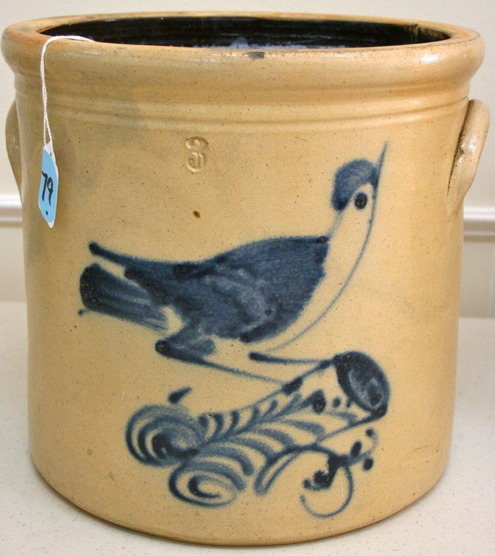 Three Gallon stoneware decorated Crock bird on stump