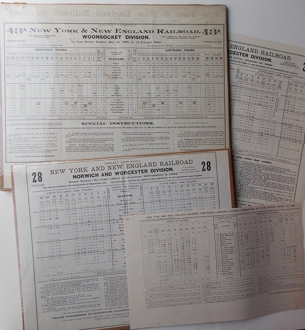 Norwich & Worcester 1880's Employee Timetables 4