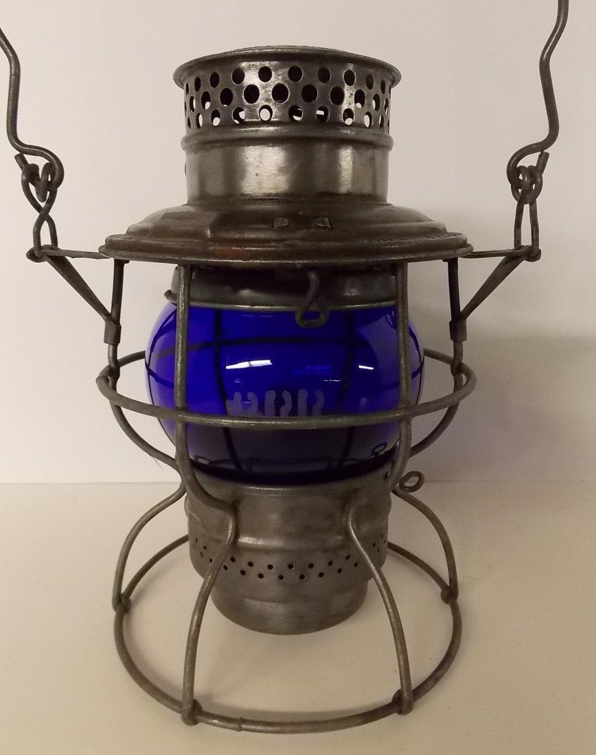 Pennsylvania Railroad Lantern Blue Etched Globe
