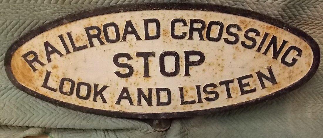 "* Pennsylvania Railroad Cast Iron ""Crossing"" Sign"