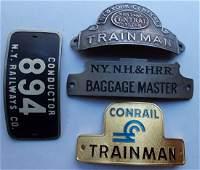 Railroad Hat Badges (4) NYCS NYNH&H CR NYRy
