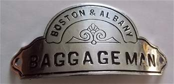 Boston & Albany Railroad Baggageman Hat Badge