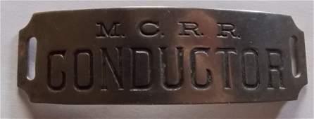 Michigan Central Railroad Conductor Hat Badge