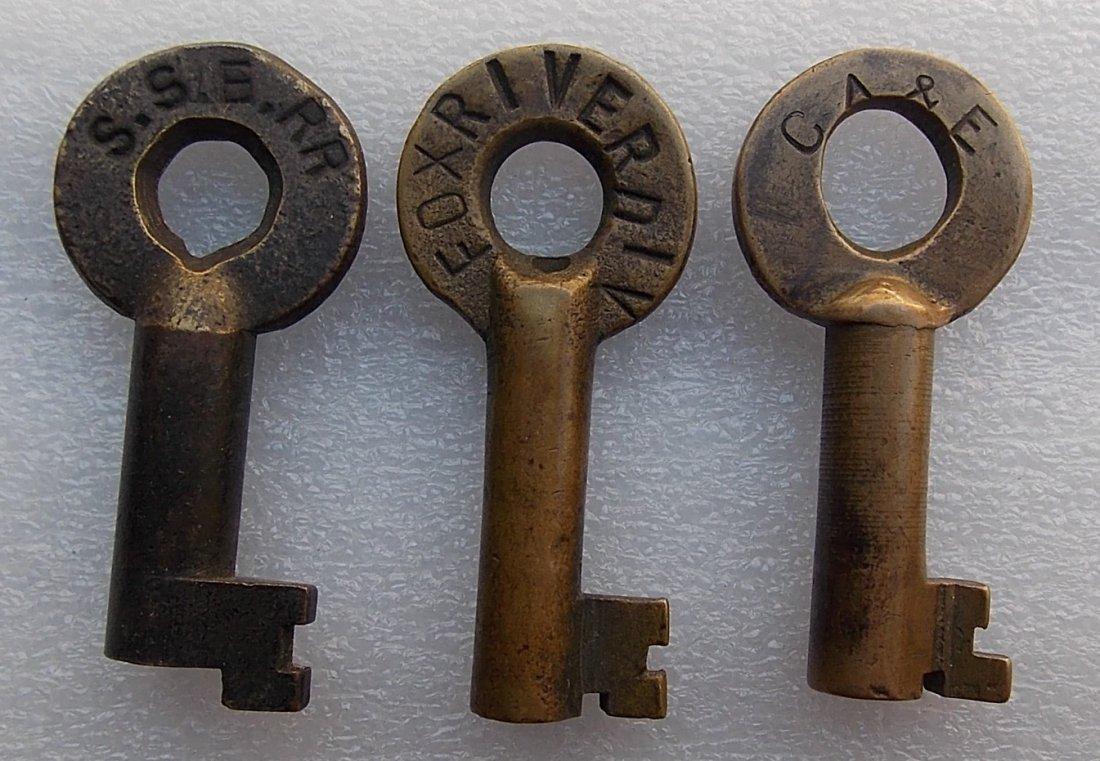 3 Brass Switch Key SSE, Fox River Div, C&AE