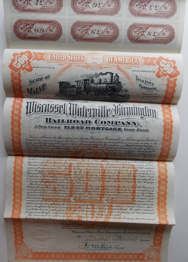 Wiscasset Waterville & Farmington $500 Bond
