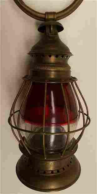 Red / Clear Brass Fireman's Lantern