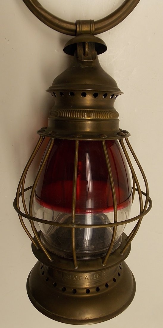 Red / Clear Brass Fireman's Lantern
