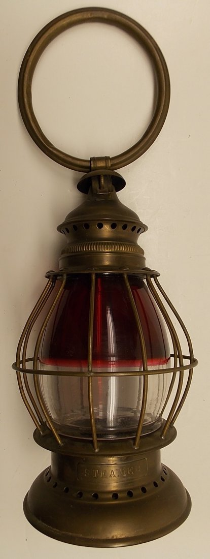 Red / Clear Brass Fireman's Lantern - 2