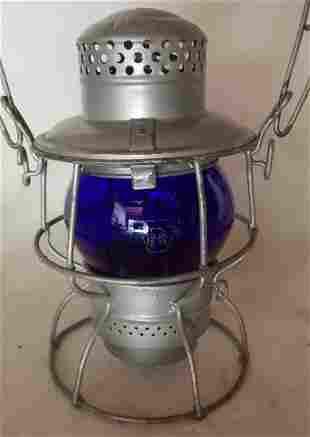 Pennsylvania Railroad Lantern Kero Blue Etch
