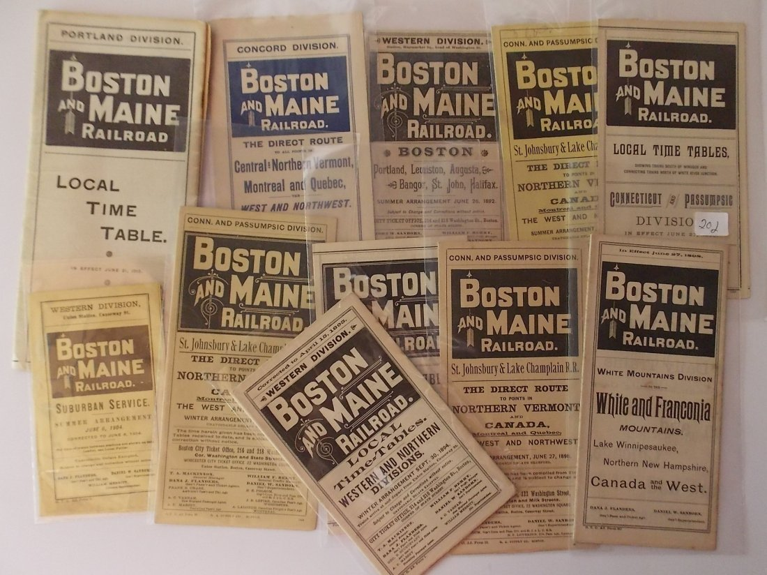 11 Boston & Maine Divisional Timetables 1890s-1916