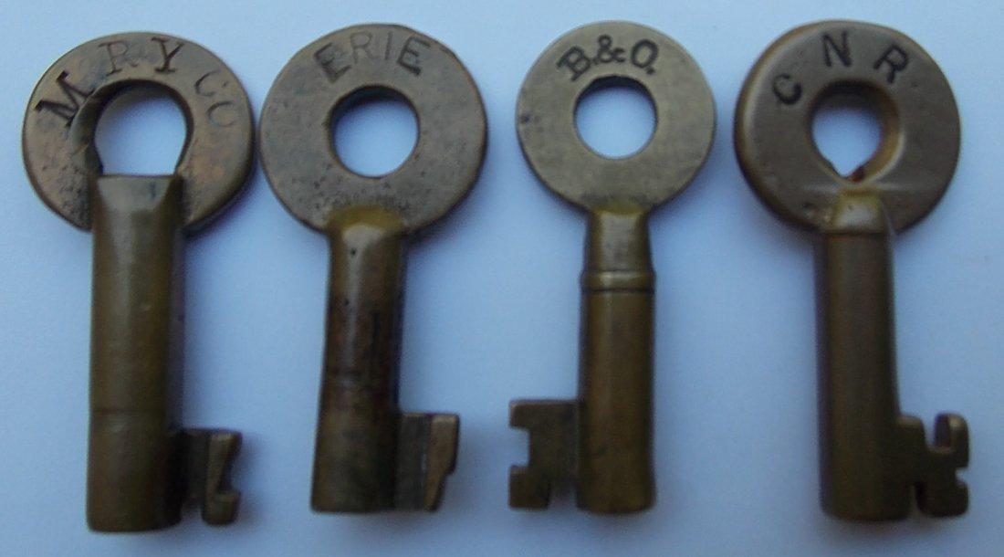 Railroad Switch Keys: M Ry, Erie, B&O, CN (4)