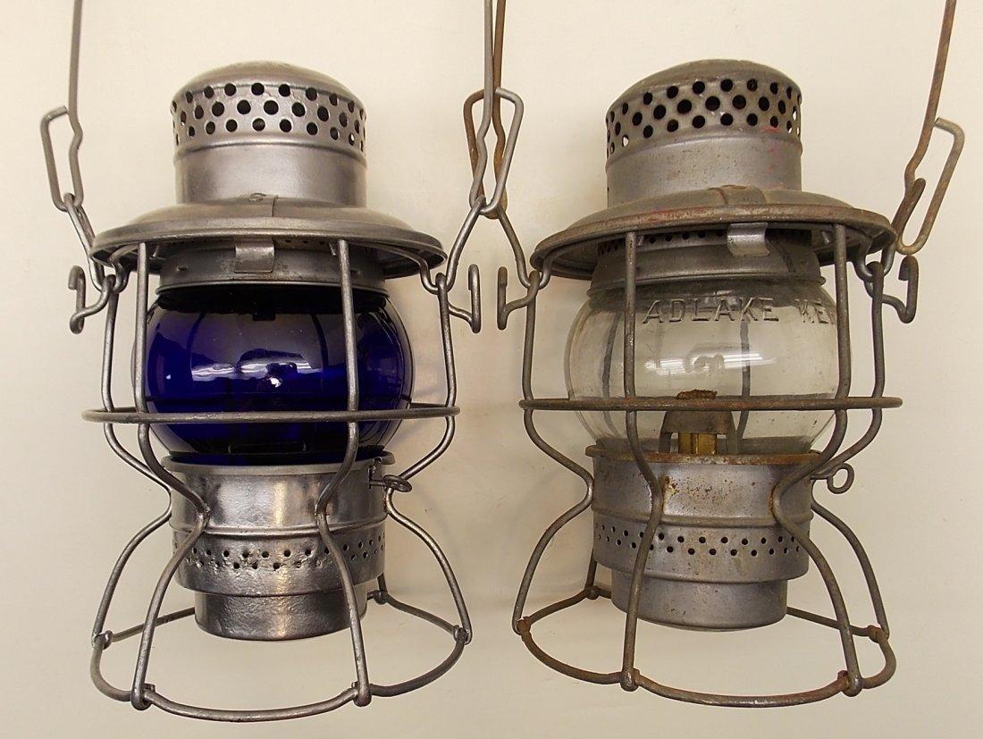 2 Penn Central Lanterns Blue, Clear