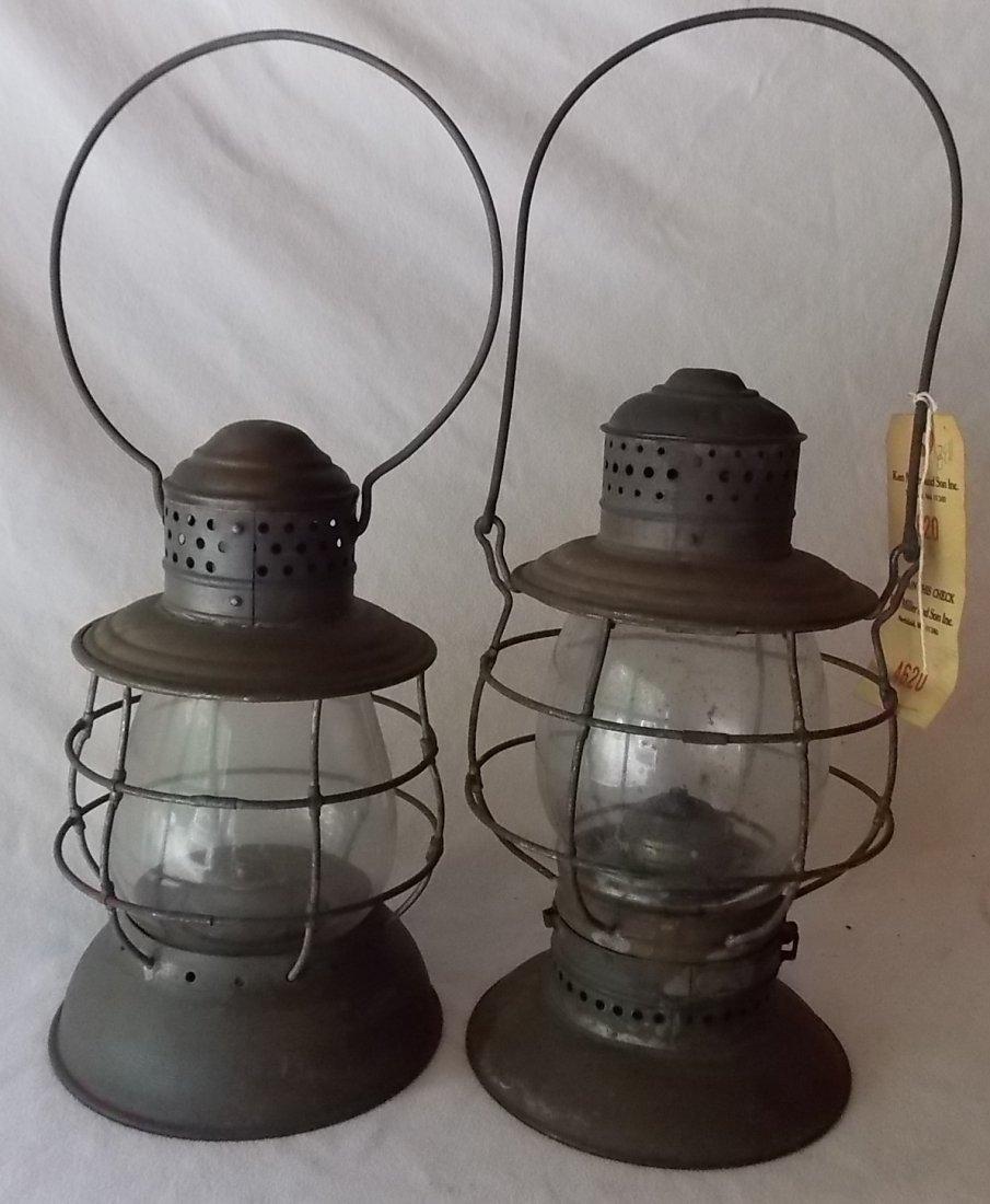 2 Brasstop Bellbottom Railroad Lanterns