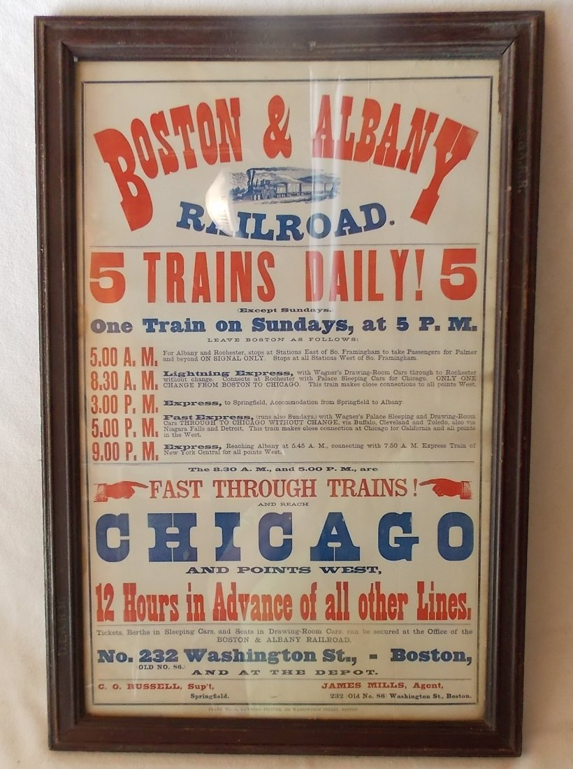 Framed Boston & Albany Depot Timetable