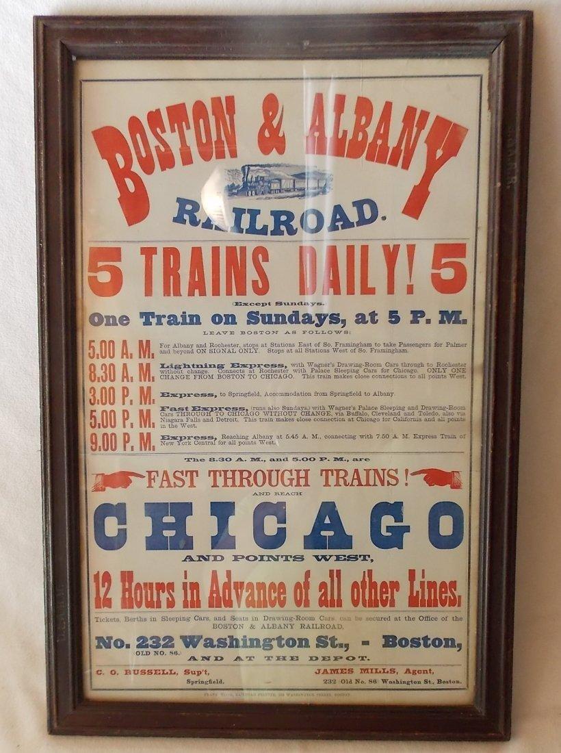 Framed Boston & Albany Depot Timetable
