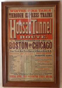 """Fitchburg """"Hoosac Tunnel"""" Framed 1878 Timetable"""