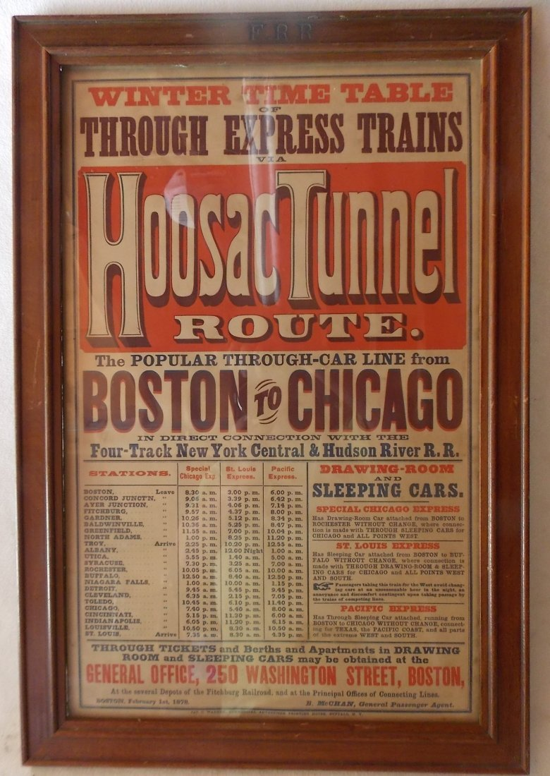 "Fitchburg ""Hoosac Tunnel"" Framed 1878 Timetable"