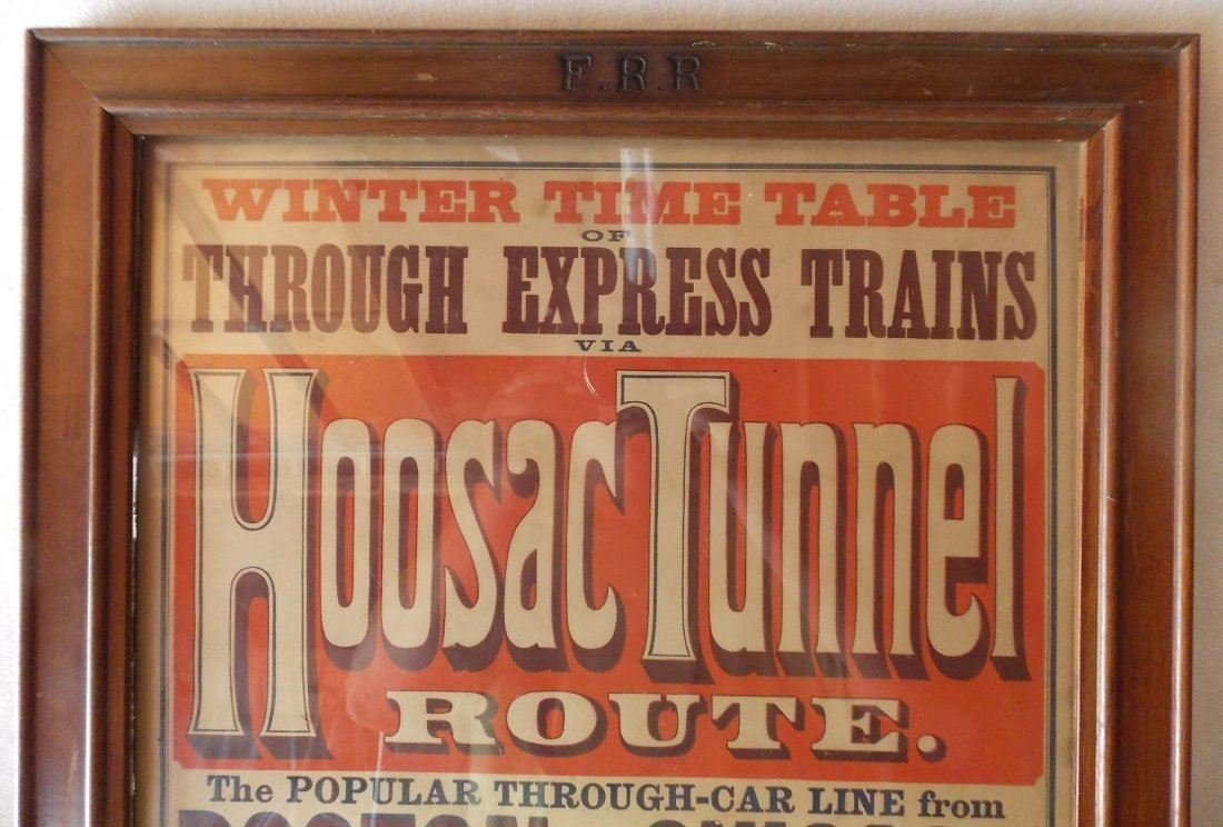 "Fitchburg ""Hoosac Tunnel"" Framed 1878 Timetable - 2"