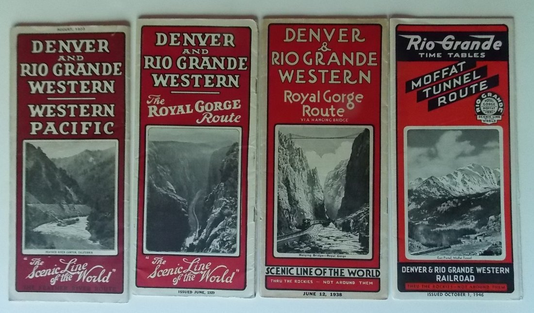 4 Denver & Rio Grande Railroad Timetables 1923-1946