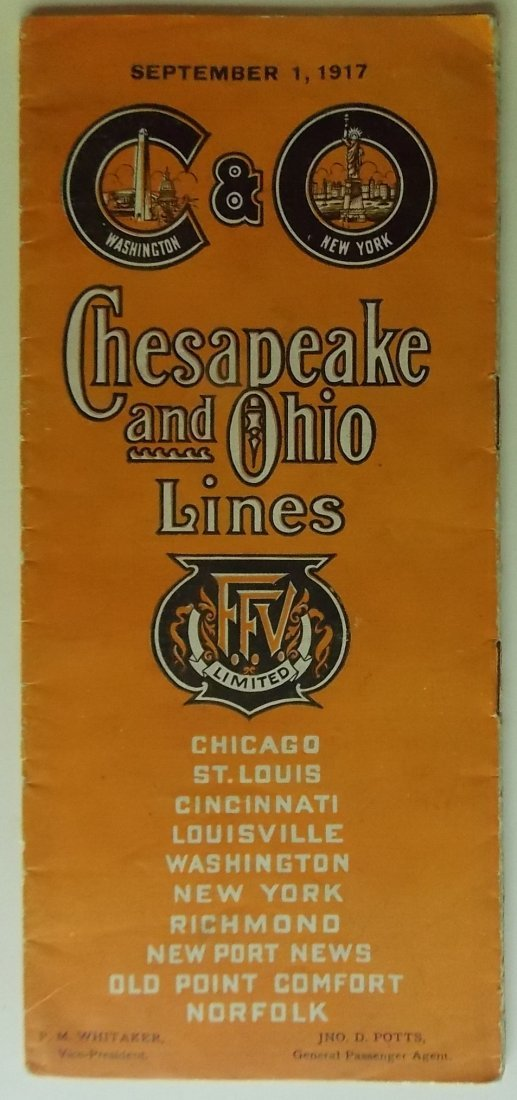 Chesapeake & Ohio Railway 1917 Timetable