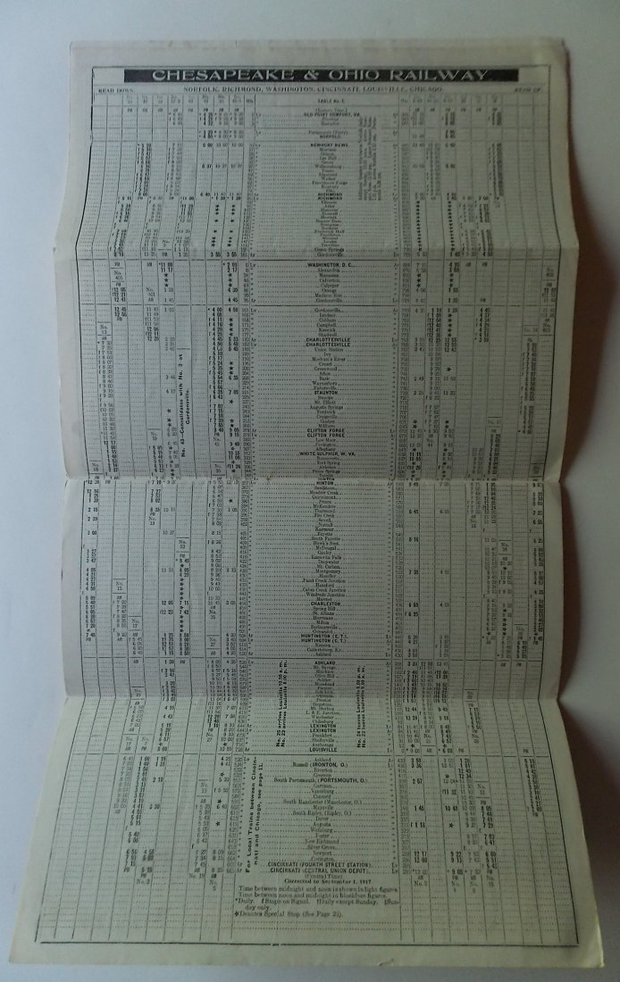 Chesapeake & Ohio Railway 1917 Timetable - 2