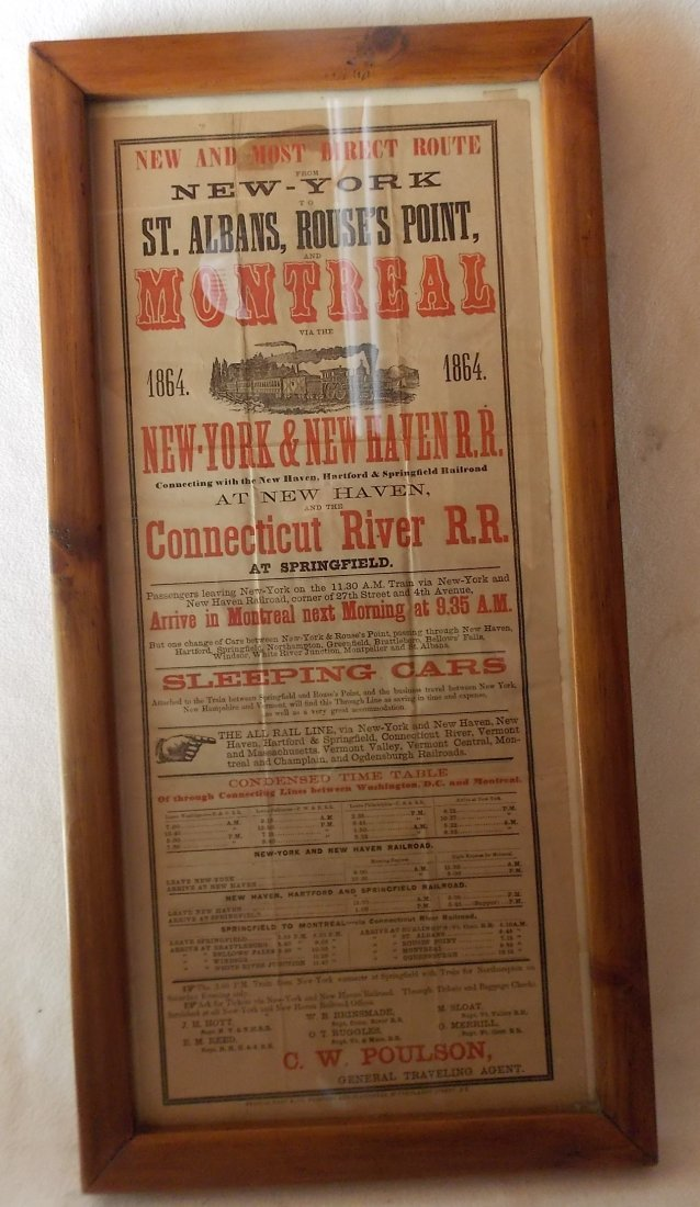 New York & New Haven 1864 Announcement Framed