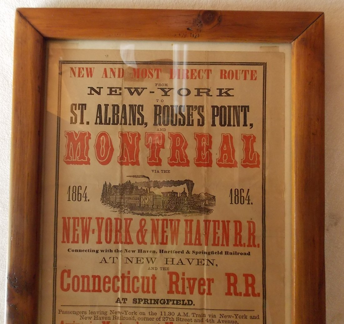 New York & New Haven 1864 Announcement Framed - 2