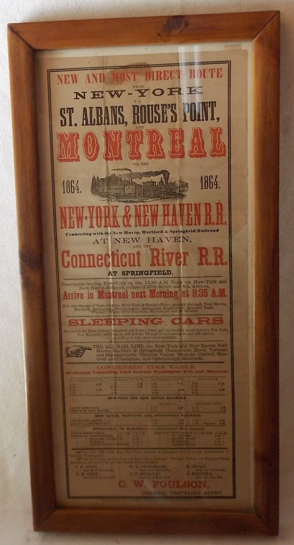 New York & New Haven 1864 Announcement Framed - 4