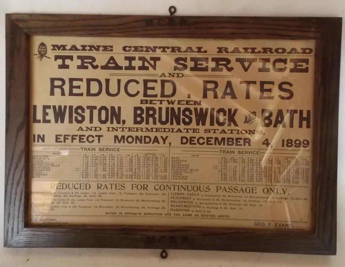 Maine Central Railroad Framed Depot Timetable