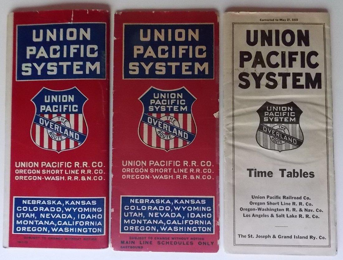 3 Union Pacific Railroad Timetables 1913-1923