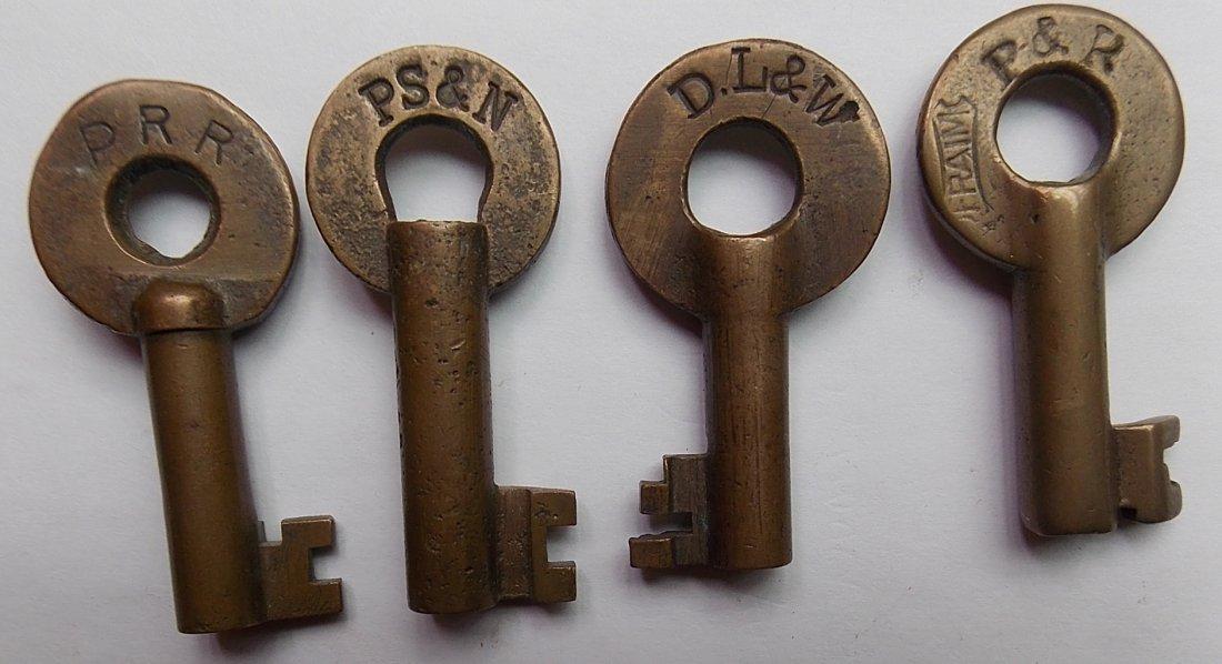 Brass Switch Keys: PRR, PS&N, P&R, DL&W