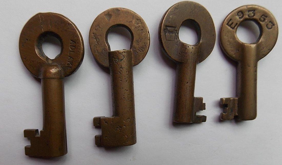Brass Switch Keys: PRR, PS&N, P&R, DL&W - 2