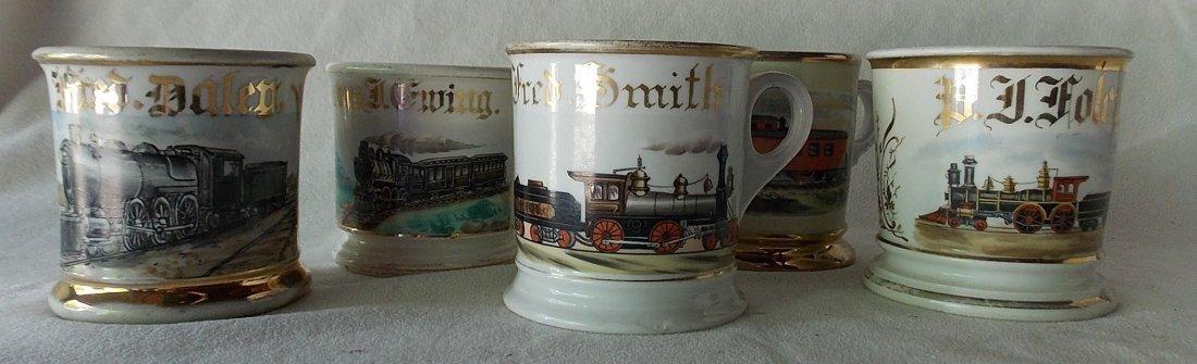 5 Railroad Occupational Shaving Mugs