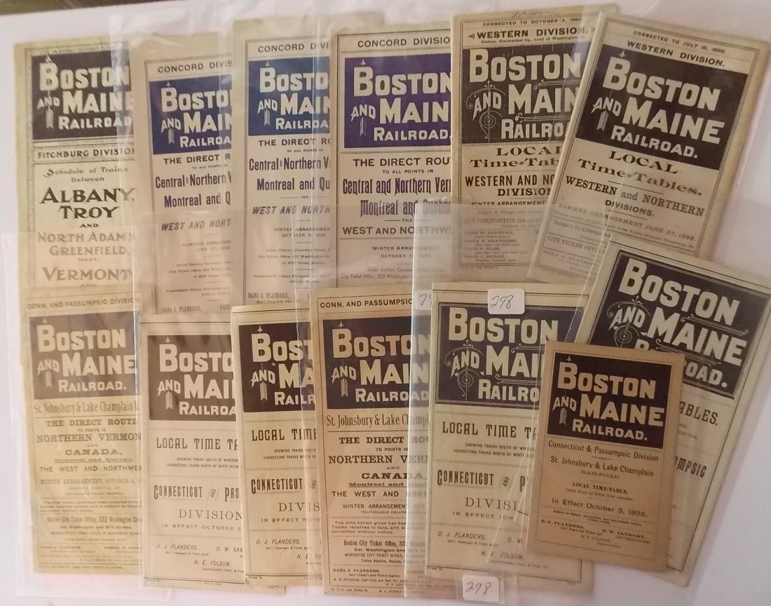 13 Boston & Maine Divisional Timetables 1890s-1916