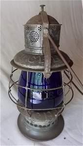Fitchburg Railroad Thompson Lantern Blue Cast Globe