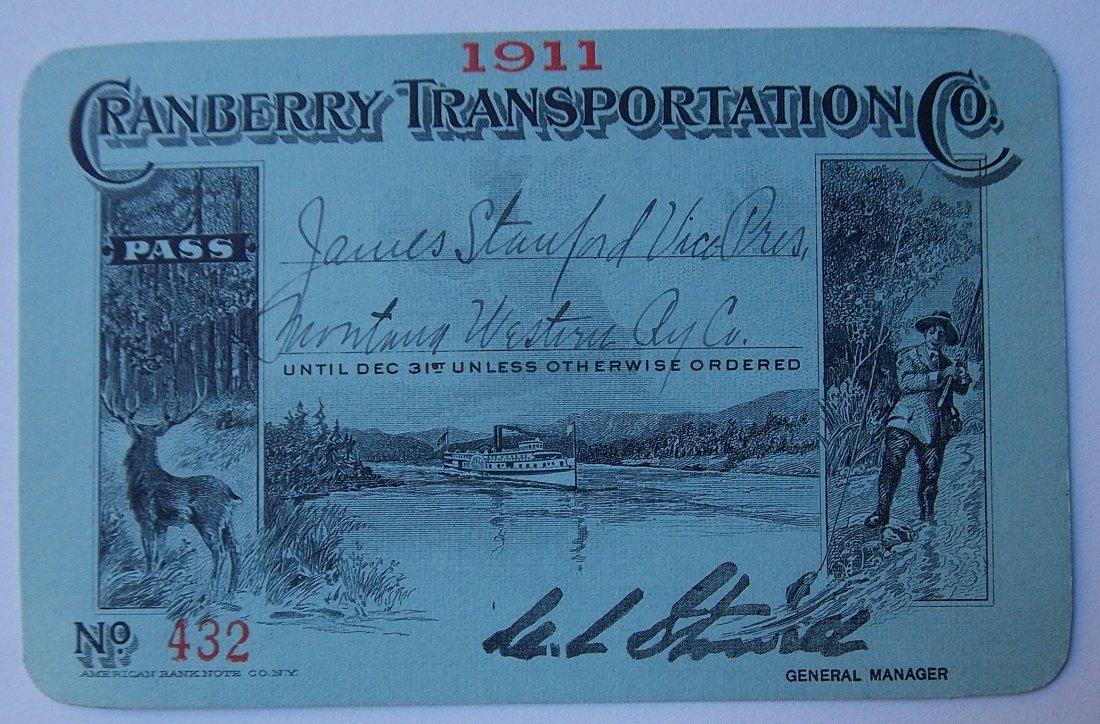 Cranberry Transportation Co Pass 1911 Adirondacks