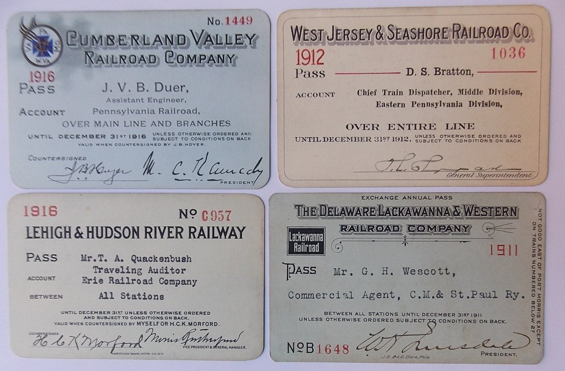 Railroad Annual Passes: CV WJ&S L&HR (4)