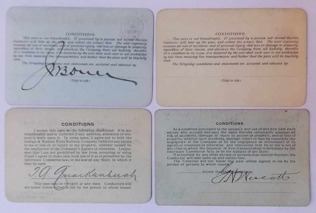 Railroad Annual Passes: CV WJ&S L&HR (4) - 2
