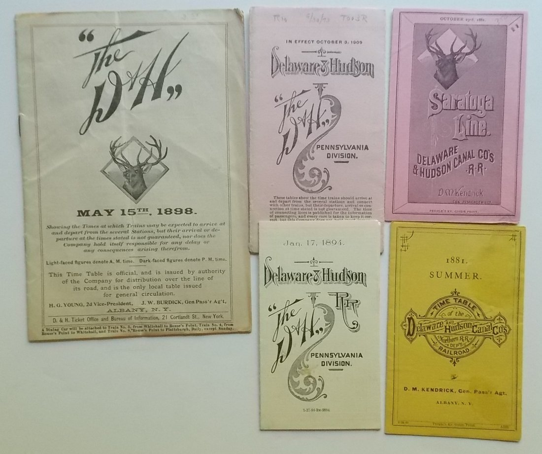 5 Delaware & Hudson Timetables 1881-1898