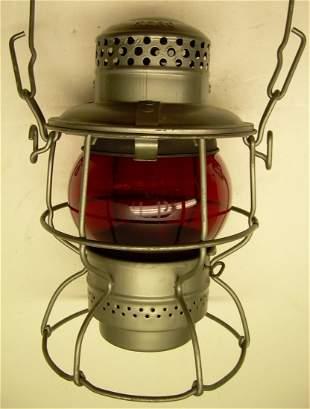 Union Pacific Railroad Lantern Red Etched Globe