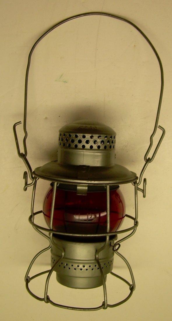 Union Pacific Railroad Lantern Red Etched Globe - 2