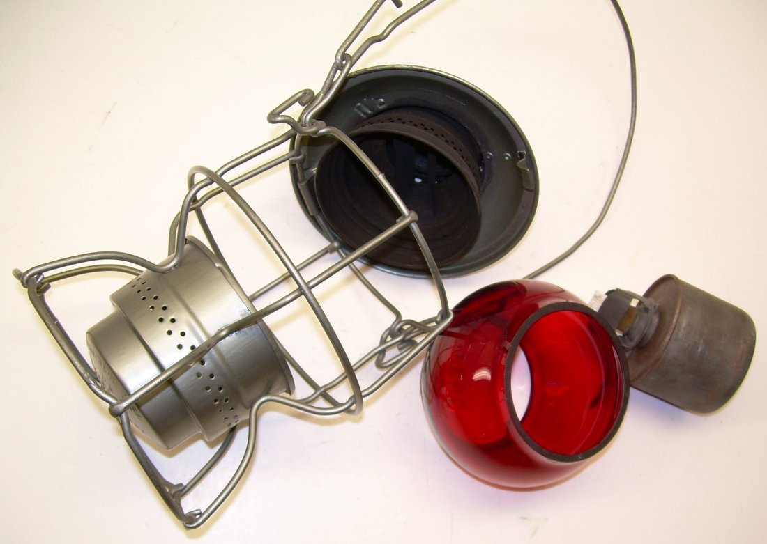 Union Pacific Railroad Lantern Red Etched Globe - 6