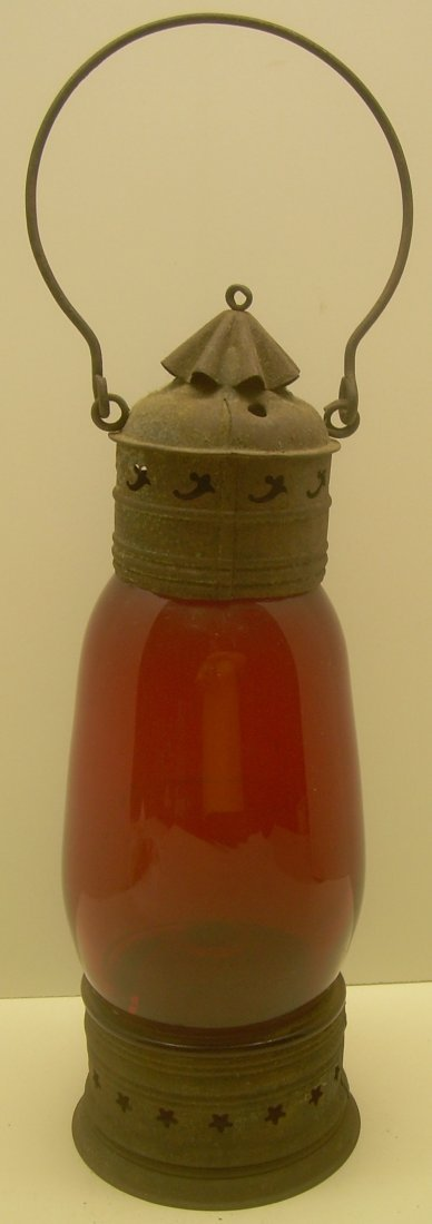 New England Glass Co Red Fixed Globe Lantern