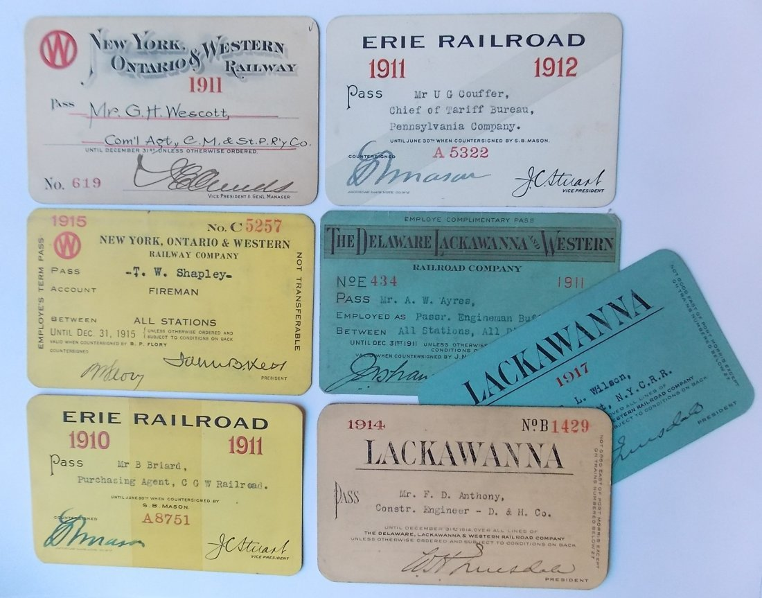 Annual Passes NYO&W Erie, DL&W (7)