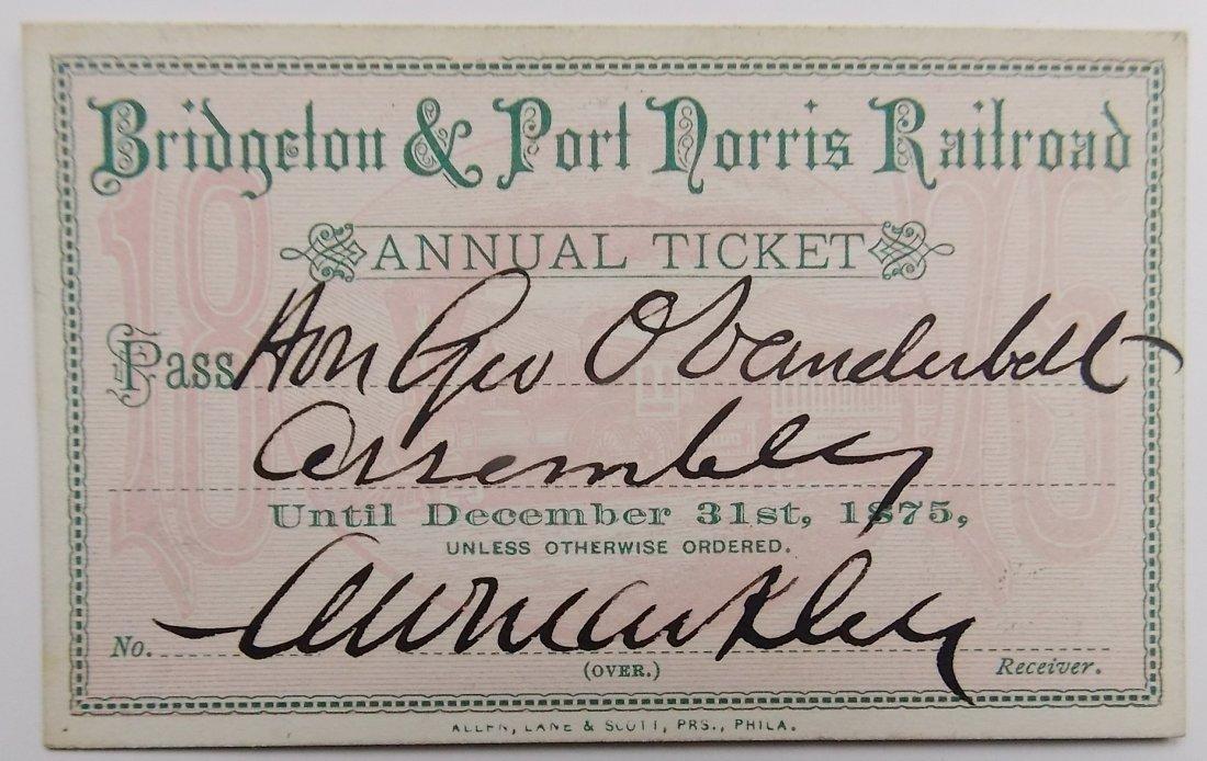 Bridgeton & Port Norris Railroad Annual Pass 1875