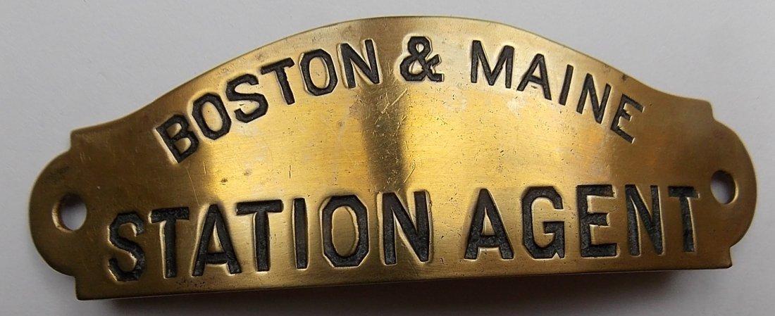 Boston & Maine Railroad Station Agent Hat Badge