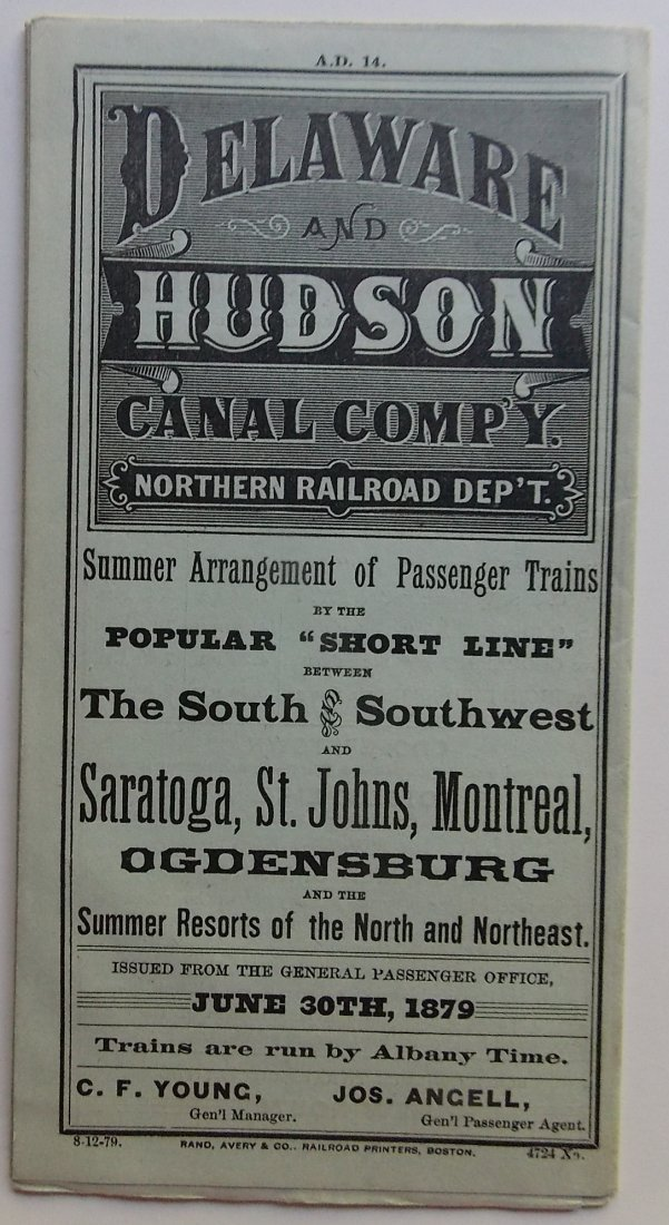 Delaware & Hudson Canal Company Timetable 1879