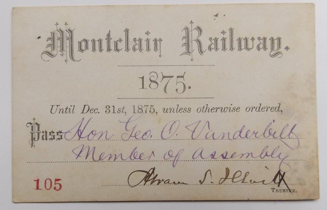 Montclair Railway 1875 Annual Pass