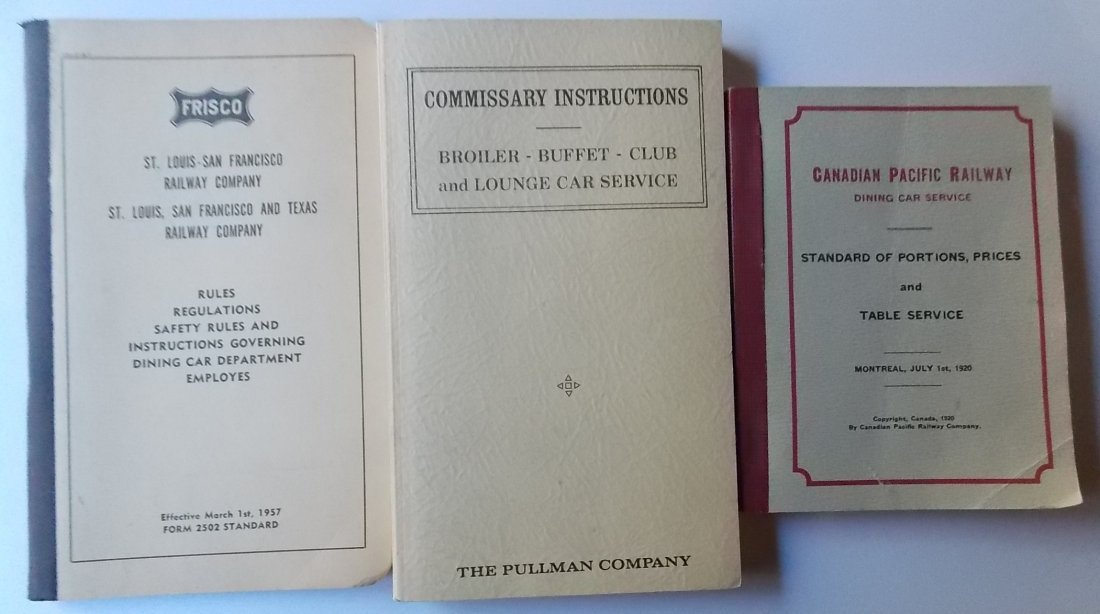 Dining Car Rule and Recipe Books (3)